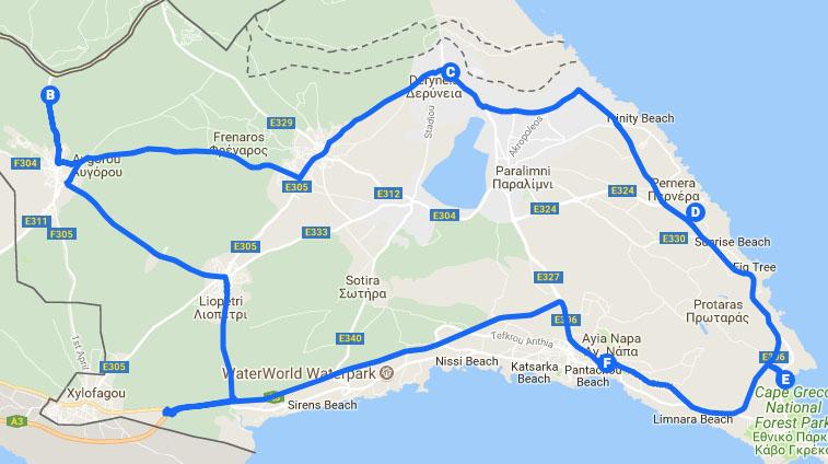 Famagusta Map | Easy Riders Rentals Ayia Napa Cyprus & Quads ...